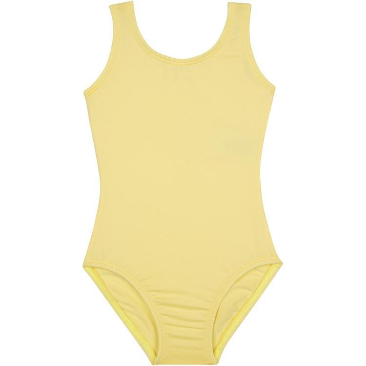 Yellow Sleeveless Tank Girls Leotard