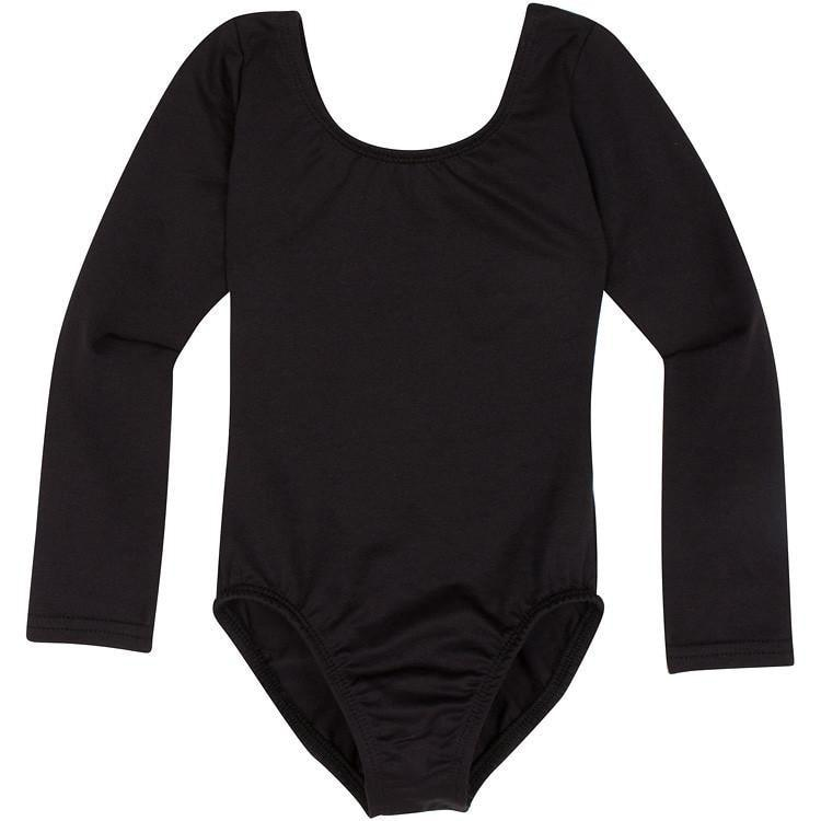 Black Long Sleeve Leotard for Toddler and Girls
