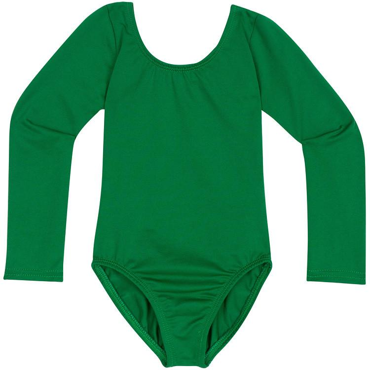 Green Long Sleeve Leotard for Toddler and Girls