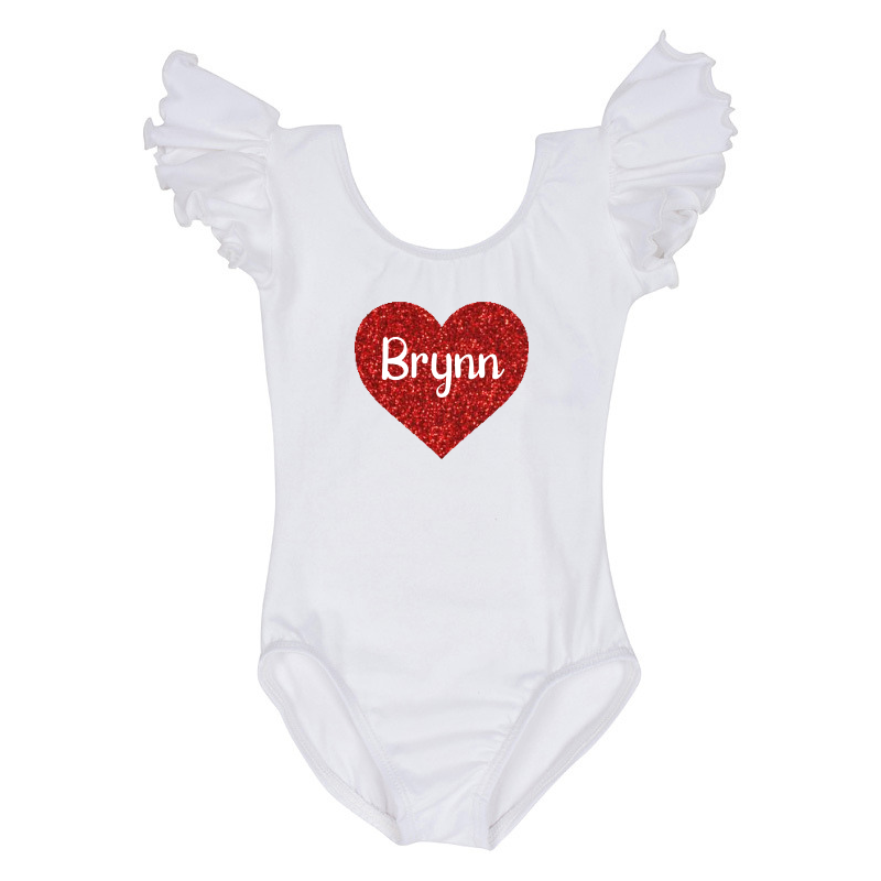 Valentine's Day Girls Cute Personalized Leotard Top - White
