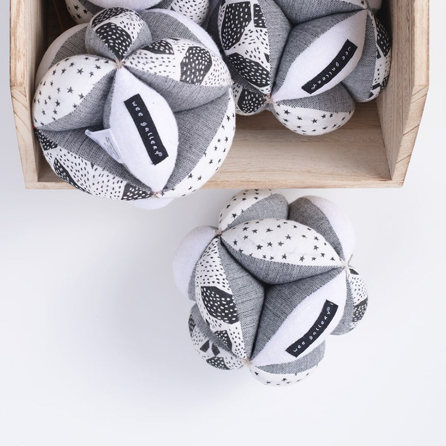 Wee Gallery - Organic Sensory Puzzle Ball - Bella Luna Toys - Balls Spilling From Box