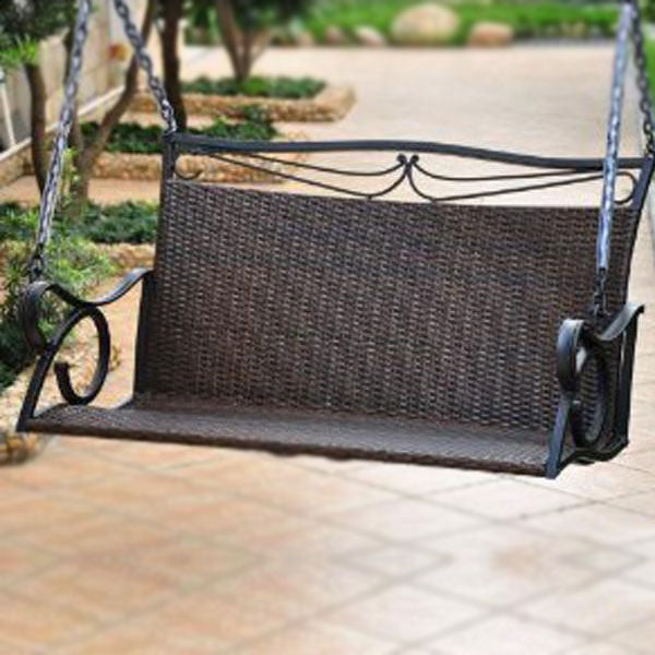 Outdoor Wicker Two Seater Swing - Couple