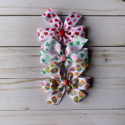Large Holiday Hair Bow Set #1