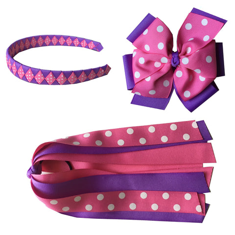 Extra Large Hot Pink and Lavender with Swiss Dots Bundle