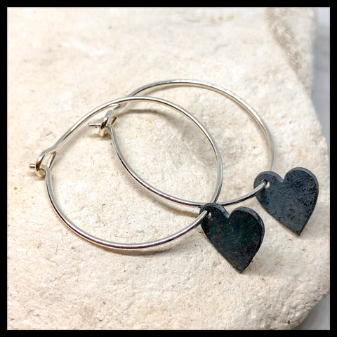 Handmade Silver hoops with silver heart drops - Glitter & Mud