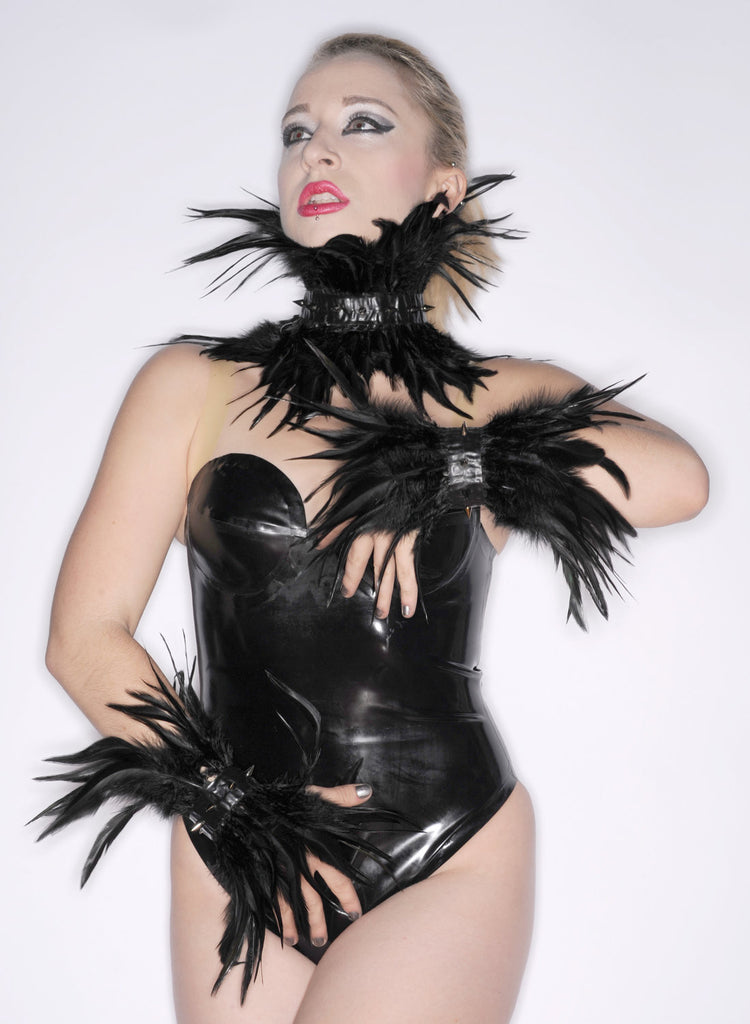 Latex Accessory Set:  Choker and Cuffs with SPIKES and FEATHERS