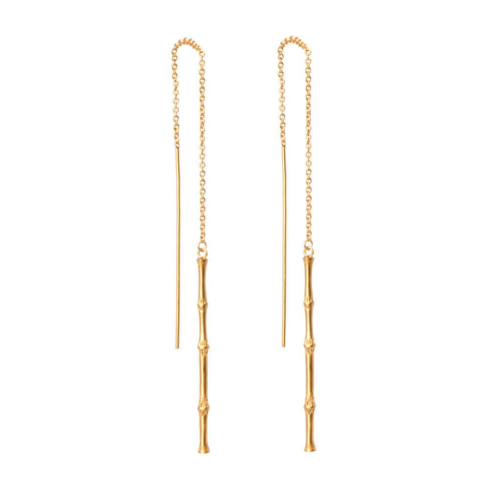 Bamboo Threader Earring - Gold