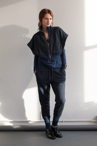 Indigo Fleece Sleeveless Jacket