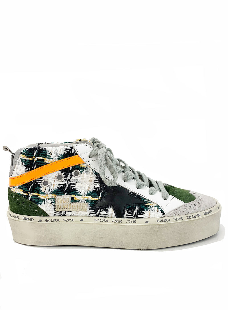 GOLDEN GOOSE | Green Tweed Platform Mid-Star Sneakers