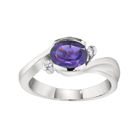 Amethyst Oval Semi Bezel Ring With Bypass Diamonds (Other Colors Available!)