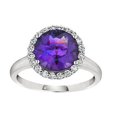 halo ring, gemstone halo ring, fancy gemstone ring, amethyst ring