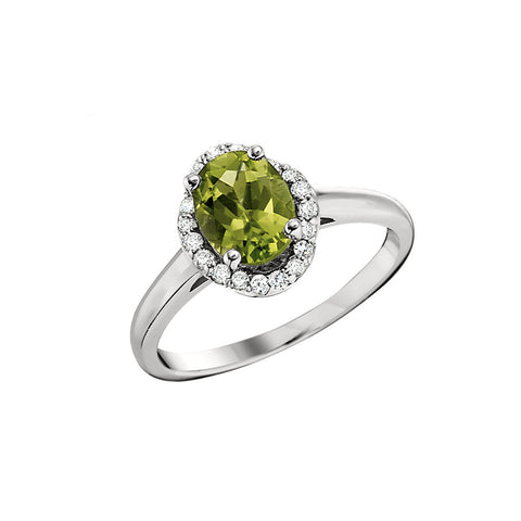 Oval Peridot Unique Halo Ring- Smaller Version