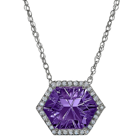 Hexagon Amethyst Halo Necklace, amethyst and diamond necklace for the red carpet