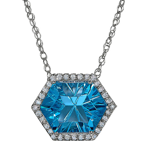 Hexagon Blue Topaz Halo Necklace, blue topaz and diamond necklace for the red carpet