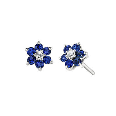 September birthstone jewelry, Sapphire Earring, Sapphire Earring, flower earring, flower earring, diamond and sapphire jewelry