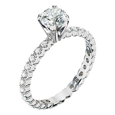 eternity engagement rings, diamonds all around engagement rings, diamond enterinity band engagement ring settings