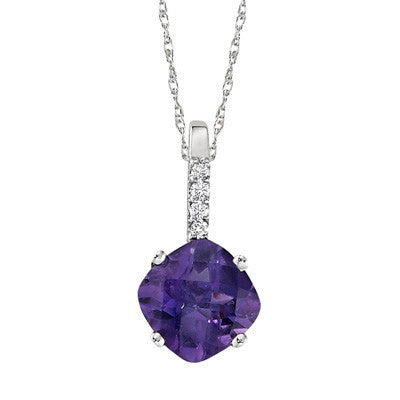 square amethyst neckalce, cushion amethyst necklace, square amethyst pendant, cushion amethyst pendant