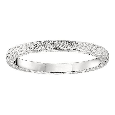 Vintage Style Wedding Rings with Hand Engraved Details- Thinner Version