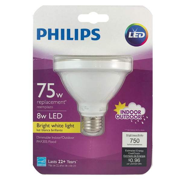 Philips 8W PAR30S LED 3000K Bright White Indoor Outdoor Flood Bulb - 75W equiv.