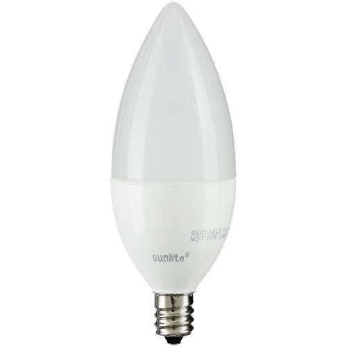 SUNLITE 7W Dimmable Candelabra LED E12 base Torpedo Soft White Bulb