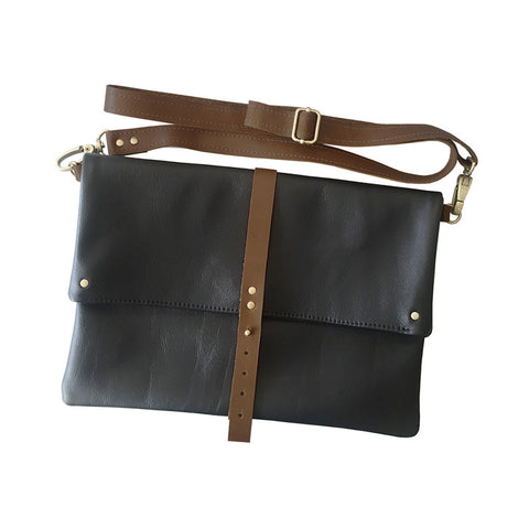 foldover crossbody - black
