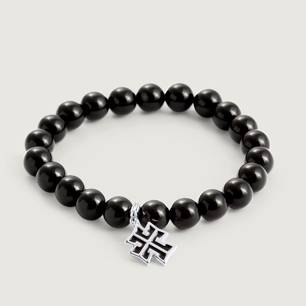 Armenian Onyx Bracelet with Cross Charm