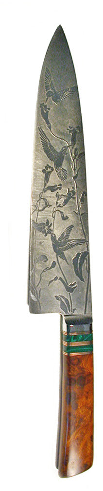 10 inch Chef's Knife with 'Hummingbirds' Etching.