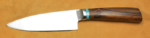 6 inch Chef's Knife with Original Dendritic Cobalt Blade, Cast Dendritic Pattern, and Turquoise/Desert Ironwood Handle.