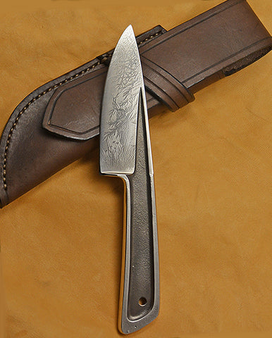 Boye Basic 3 with 'Deer at the Edge of the Redwoods' Etching and Leather Sheath.