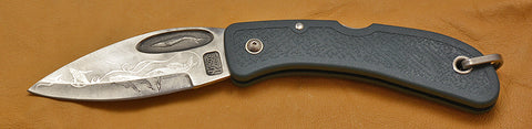 Blue Whale Lockback Folding Pocket Knife with 'String of Whales' Etching.