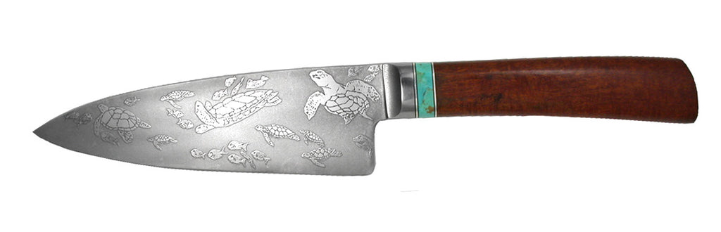 6 inch Chef's Knife with 'Sea Turtles' and Fish Etching.