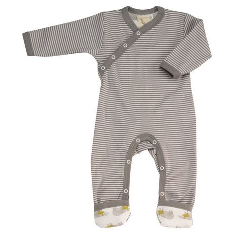 PIGEON ORGANICS - Striped Romper Sleepsuit Grey