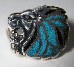 INLAYED LION HEAD SILVER DELUXE BIKER RING (Sold by the piece) *