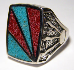 NATIVE STYLE SUNRISE INLAYED SILVER DELUXE BIKER RING (Sold by the piece) * CLOSEOUT $ 3.75 EA