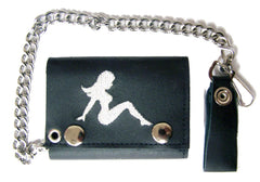EMBROIDERED MUD FLAP TRUCKER GIRL TRIFOLD LEATHER WALLET WITH CHAIN (Sold by the piece)