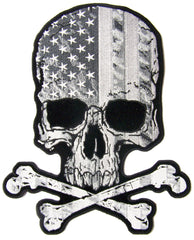 SKULL X BONES USA FLAG B & W  EMBROIDERED PATCH 4 INCH (Sold by the piece)