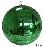 12 INCH GREEN COLOR MIRROR REFLECTION DISCO BALL (Sold by the piece)  *- CLOSEOUT SALE 34.50 EA