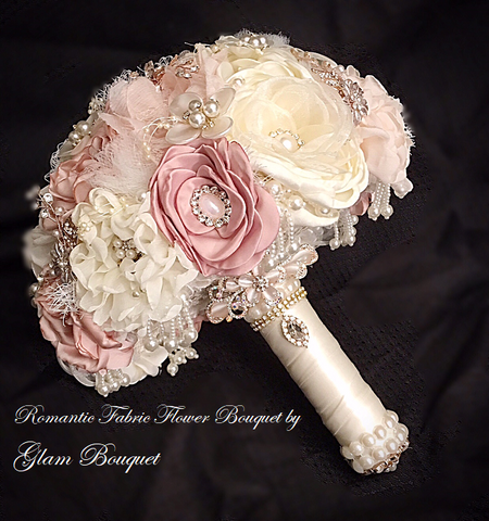 Romantic Fabric Flower Wedding Bouquet - $395 (PROMO)