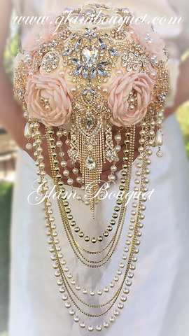"9.5"" Elegant Pink Gold and Ivory Cascade Pearl Brooch Bouquet $575.00"