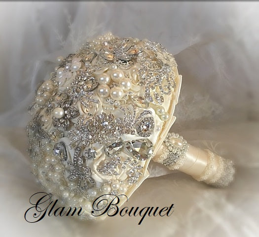 Simple Elegant Ivory and Silver Jeweled Bouquet - $520