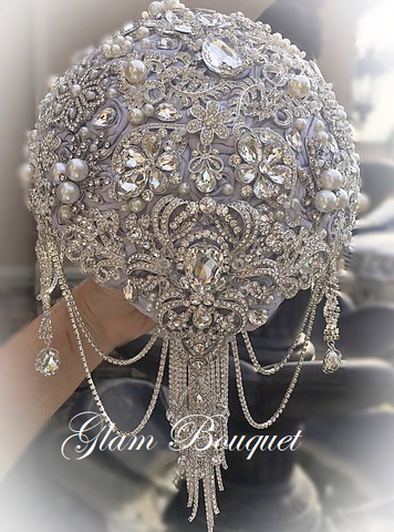 All Silver Teardrop Brooch Bouquet -$599.00