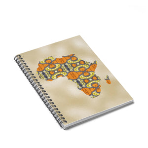 Orange Map Of Africa Spiral Notebook - Ruled Line