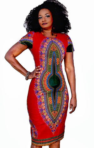 ALAYA African Print Dashiki  Midi Dress - Zabba Designs African Clothing Store