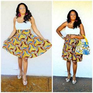 Brown African Ankara Print Midi Skirt - Zabba Designs African Clothing Store