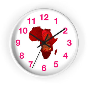 Red Velvet Map Of Africa Wall clock - Zabba Designs African Clothing Store