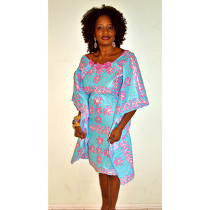 Blue Tiff Ankara Print Butterfly kaftan Dress - Zabba Designs African Clothing Store