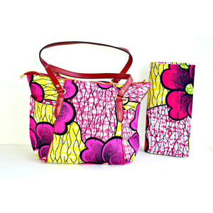 Large African Print Tote Pink And Yellow Print With leather Straps - Zabba Designs African Clothing Store