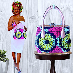 Gizelle African Print Pink Top Handle Bag - Zabba Designs African Clothing Store