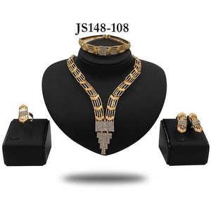 BRIDAL CRYSTAL V-DROP NECKLACE SET - Zabba Designs African Clothing Store