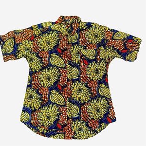 African Men's Tropical-Print Camp Collar Shirt - Zabba Designs African Clothing Store